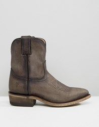Frye Billy Short Leather Western Boots Smoke Grey