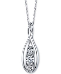 Sirena Diamond Three Stone Pendant Necklace 1 2 Ct. T.W. In 14K White Gold