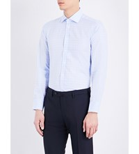 Turnbull And Asser Gingham Slim Fit Cotton Shirt Sky White