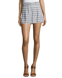 Veronica Beard Wynwood Striped High Waist Shorts Black White Women's