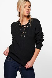 Boohoo Lace Front Detail Fisherman Jumper Black