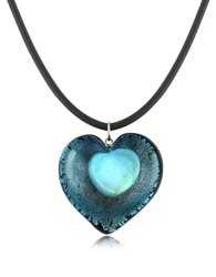 Akuamarina Silver Leaf And Murano Glass Heart Pendant Necklace Blue