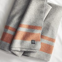 Cb2 Faribault Orange Stripe Wool King Blanket