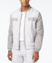 Sean John Men's Lightweight Colorblocked Bomber Jacket Titatium
