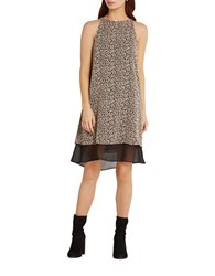 Bcbgeneration Leopard Print Blocked Hem Tent Dress Black