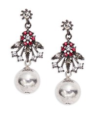 Gerard Yosca Floral And Ball Accented Drop Earrings Silver