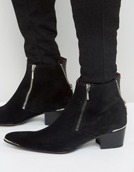 Jeffery West Sylvian Suede Zip Boots Black