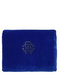 Roberto Cavalli Venezia Velvet And Leopard Print Throw Blue