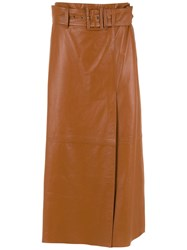 Spacenk Nk Midi Leather Skirt Brown