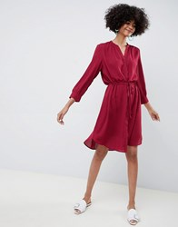 Selected Femme Midi Shirt Dress Red