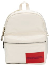 Calvin Klein Logo Patch Backpack Cotton Leather Brass White