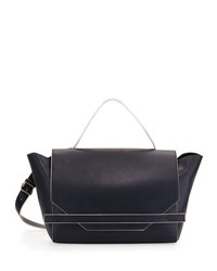 French Connection Cynthia Faux Leather Satchel Bag Navy