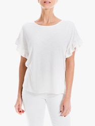 Max Studio Short Sleeve Frill Jersey Top White