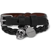 Alexander Mcqueen Woven Leather And Silver Tone Wrap Bracelet Black