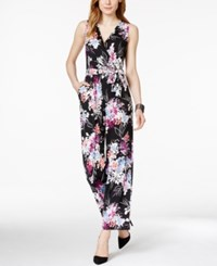 Ny Collection Petite Belted Floral Print Wide Leg Jumpsuit