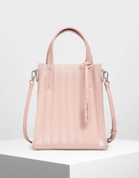 Charles And Keith Translucent Tote Bag Pink