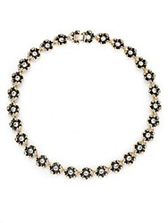 Saks Fifth Avenue Floral Jewel Necklace Black