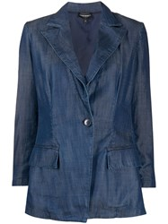 Emporio Armani Single Breasted Denim Blazer Blue