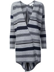 Derek Lam 10 Crosby Striped V Neck Cardigan Grey