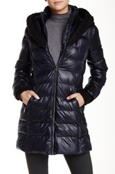 Rachel By Rachel Roy Cable Knit Trimmed Hoodie Puffer Jacket Blue
