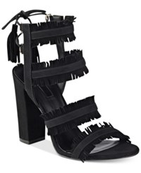 Guess Women's Econi Strappy Block Heel Dress Sandals Women's Shoes Black Suede