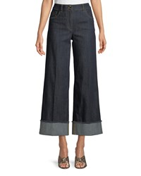 Boutique Moschino Wide Leg Cropped Jeans Dark Blue