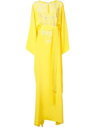 Oscar De La Renta Split Neck Caftan Dress Yellow Orange