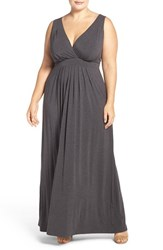 Tart Plus Size Women's 'Chloe' Print Empire Waist Jersey Maxi Dress Marengo