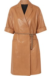 Brunello Cucinelli Belted Leather Coat Brown
