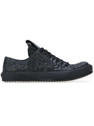 Both Wrinkled Lace Up Sneakers Men Horse Leather Leather Rubber 40 Black