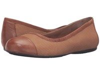 Softwalk Napa Cognac Nubuck Embossed Leather Leather Women's Flat Shoes Brown