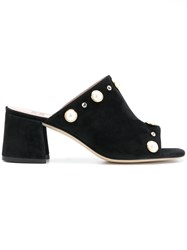 Gianna Meliani Pearl Embellished Mules Black