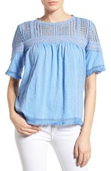 Caslonr Women's Caslon Fringed Lace And Knit Tee