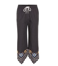 See By Chloe Embroidered Cotton Cropped Trousers Blue