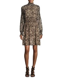 Michael Kors Long Sleeve Smocked Dress Taupe Brown