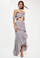 Missguided Premium Grey Textured Eyelet Frill Maxi Skirt