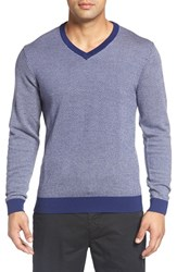 Bobby Jones Men's Herringbone Merino Wool V Neck Sweater Summer Navy
