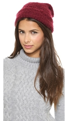 1717 Olive Brushed Purl Knit Beanie Burgundy