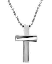 Sutton By Rhona Sutton Men's Stainless Steel Cross Pendant Necklace Silver