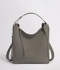 Allsaints Kita Small Leather Backpack Storm Grey