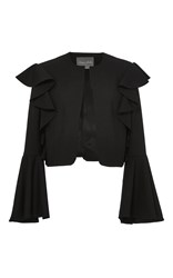 Monique Lhuillier Ruffled Jacket With Flared Sleeves Black