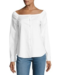 Theory Auriana Stretch Cotton Off The Shoulder Top White