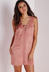 Missguided Faux Suede Lace Up Shift Dress Rose Red