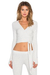 Spiritual Gangster Ballet Wrap Top Light Gray