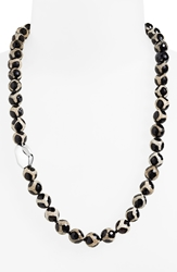 Simon Sebbag 'Safari' Beaded Necklace Tortoise Agate Silver