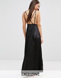 Wolf And Whistle Maxi Split Cami Nightdress Black