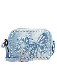 Valentino Garavani Rockstud Denim Crossbody Bag Blue