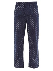 Derek Rose Geometric Pattern Cotton Poplin Pyjama Trousers Navy Multi