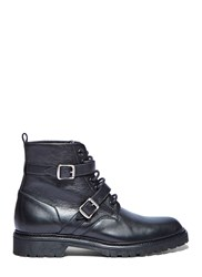 Saint Laurent Double Strap Lace Up Leather Military Boots Black