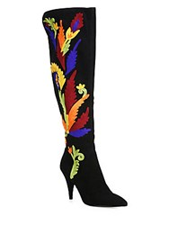 Alice Olivia Corin Embroidered Suede Point Toe Boots Black Multi